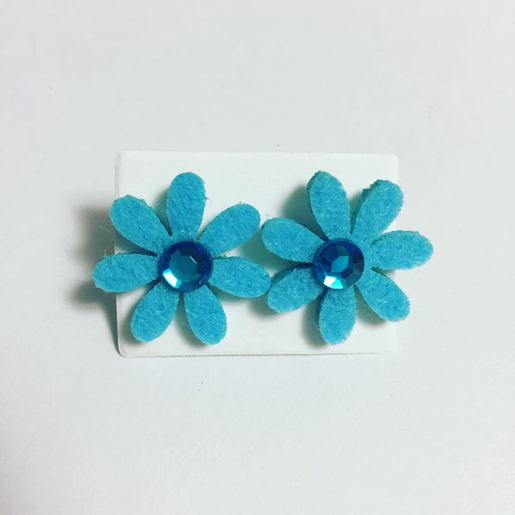 Blue Felt Flower Earrings