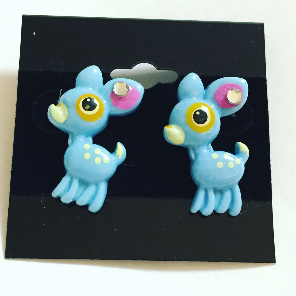 Blue Baby Deer Earrings