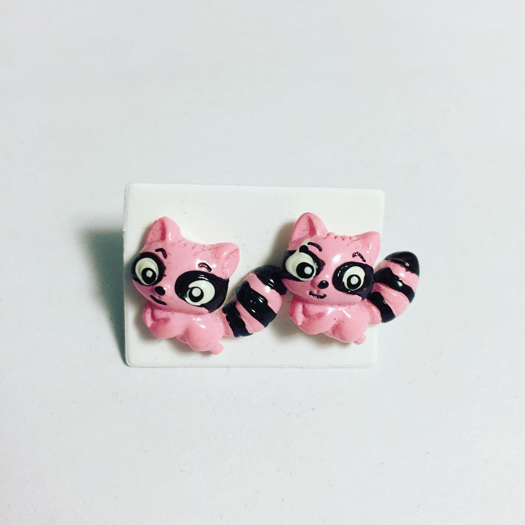 Pink Raccoon Earrings