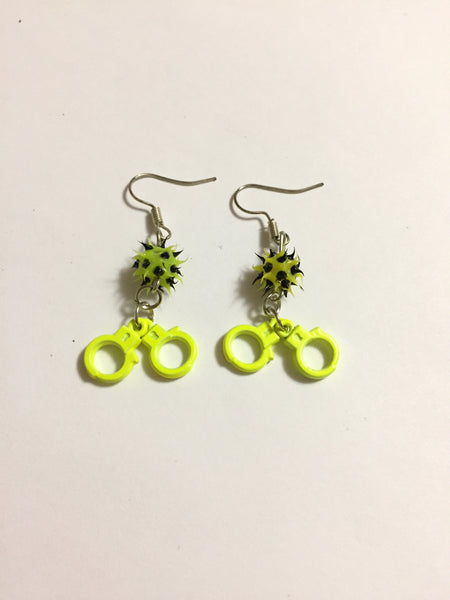 Yellow Handcuff Charm Earrings