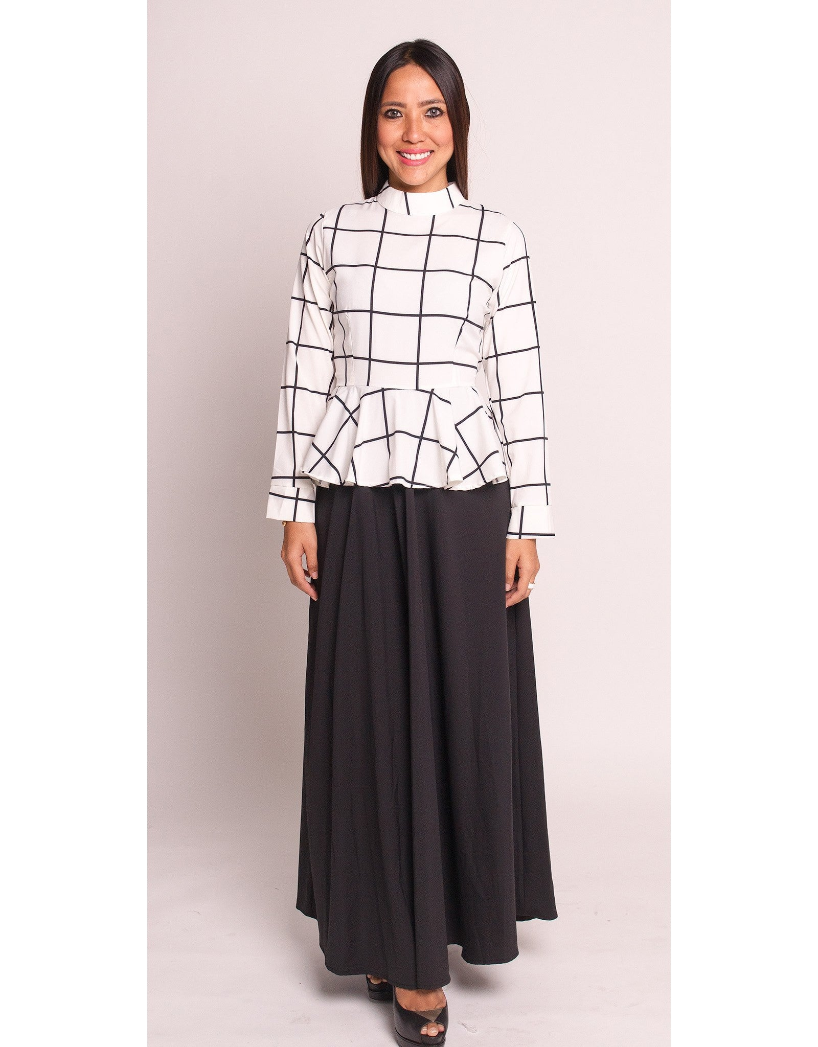 Super Peplum Top with Long Skirt (White) – Bazaar 22 WP61