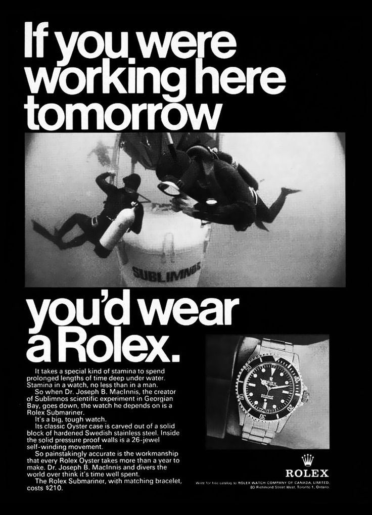 1970 Rolex Submariner Advertisement