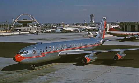An American Airlines' Boeing 707-123B, N7523A, in the original Astrojet livery, at LAX