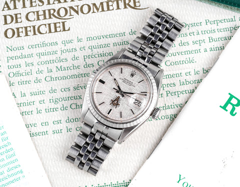 """1971 Rolex Datejust (Ref. 1603) """"Masonic Linen Dial"""" W/ Boxes & Double Punched Papers"""