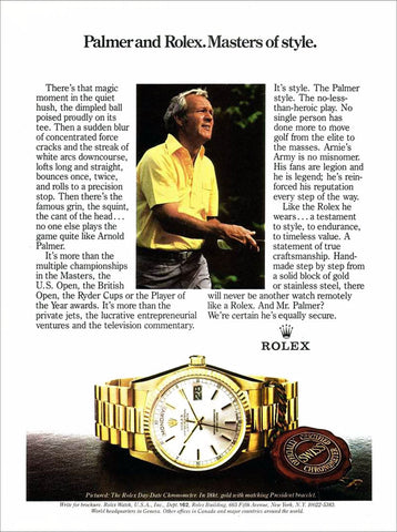 Rolex Day-Date President History Arnold Palmer Ad
