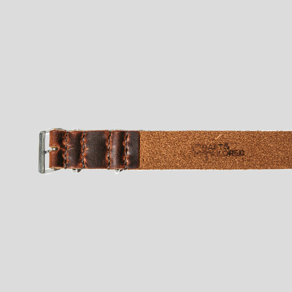 Horween Horsehide Leather Single-Pass Watch Strap 20mm (Ox Blood)