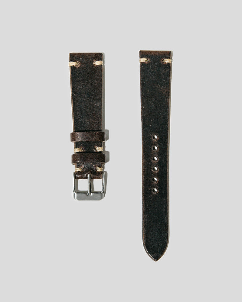Horween Horsehide Leather Watch Strap 20mm (Chocolate Brown)