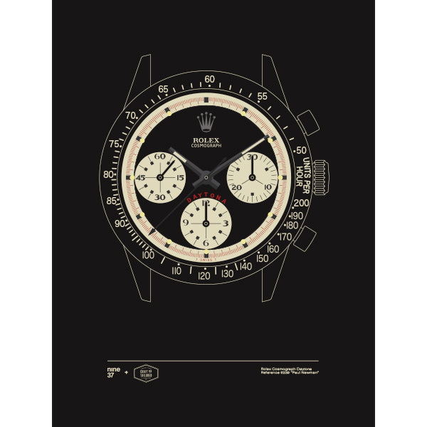 Limited Edition: Nine37 + Craft & Tailored Rolex Daytona Paul Newman 6239 Print (Black)