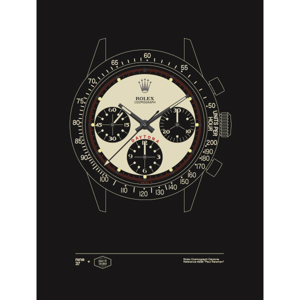 Limited Edition: Nine37 + Craft & Tailored Rolex Daytona Paul Newman 6239 Print (White)