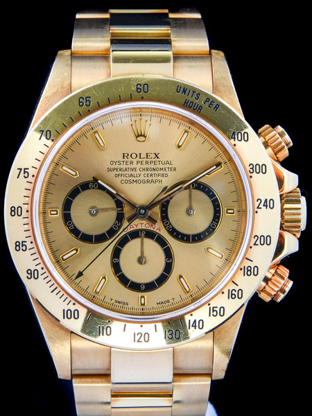1994 Rolex Zenith Daytona Ref. 16528 18k YG Unpolished Box and Papers