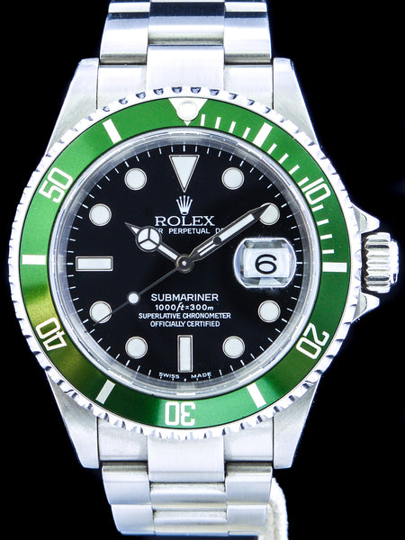 "Y-Serial 2003 Rolex Green Submariner (Ref. 16610LV) Mk.1 ""Flat 4"" W/ Box and Papers"