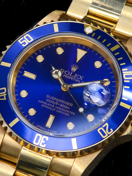 1990 Rolex Blue Submariner (Ref. 16618) 18K YG