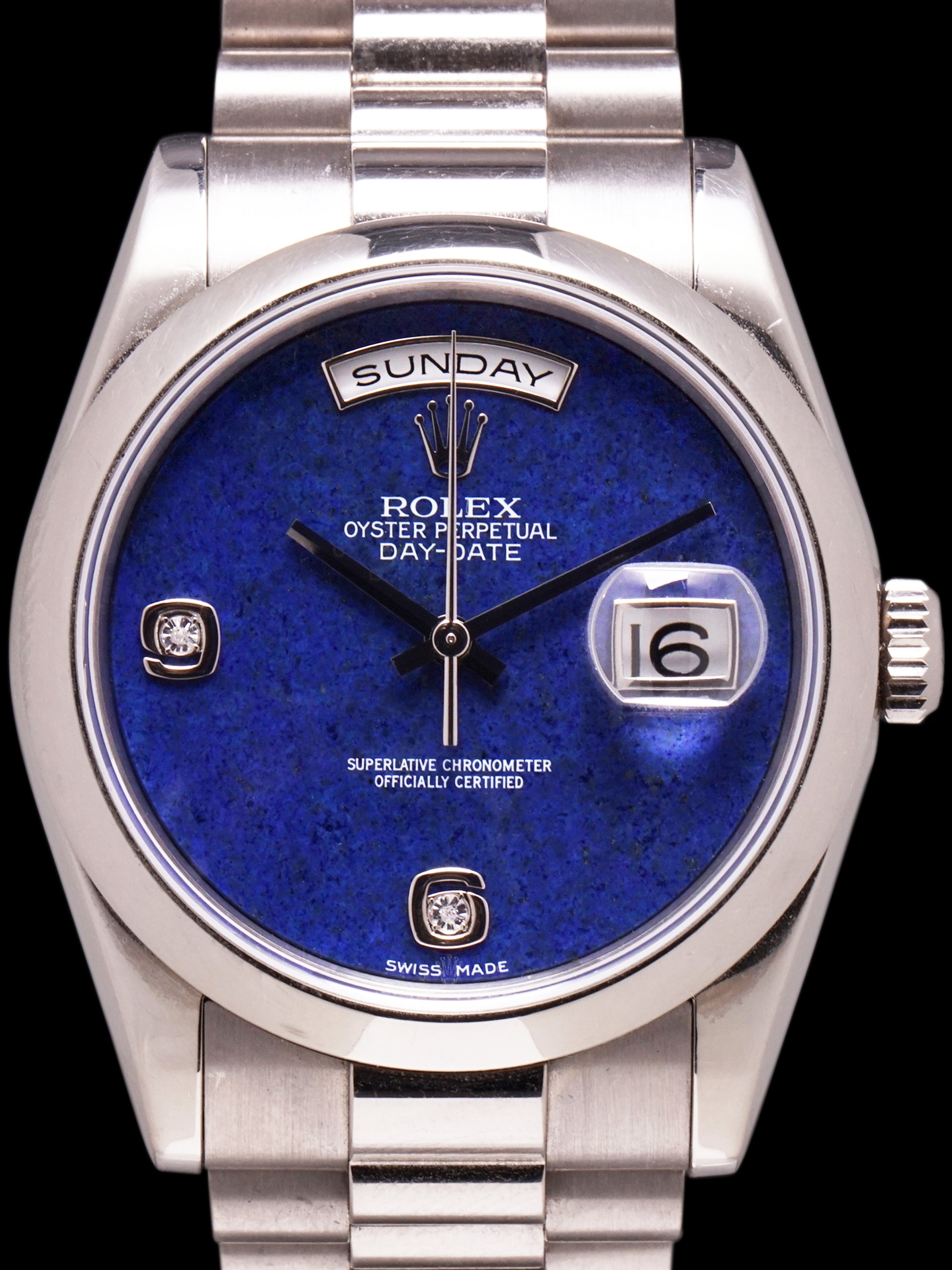 *Unpolished* 2010 Rolex Day-Date (Ref. 118209) 18k WG Lapis Dial W/ Box & Papers