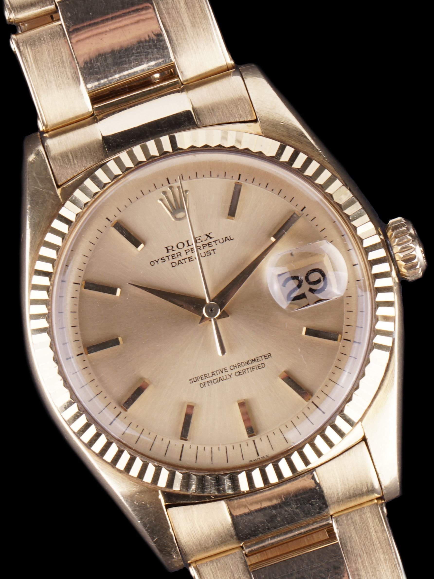 "1960 Rolex Datejust (Ref. 1601) 18K YG ""Swiss Only"" No-Lume Dial"
