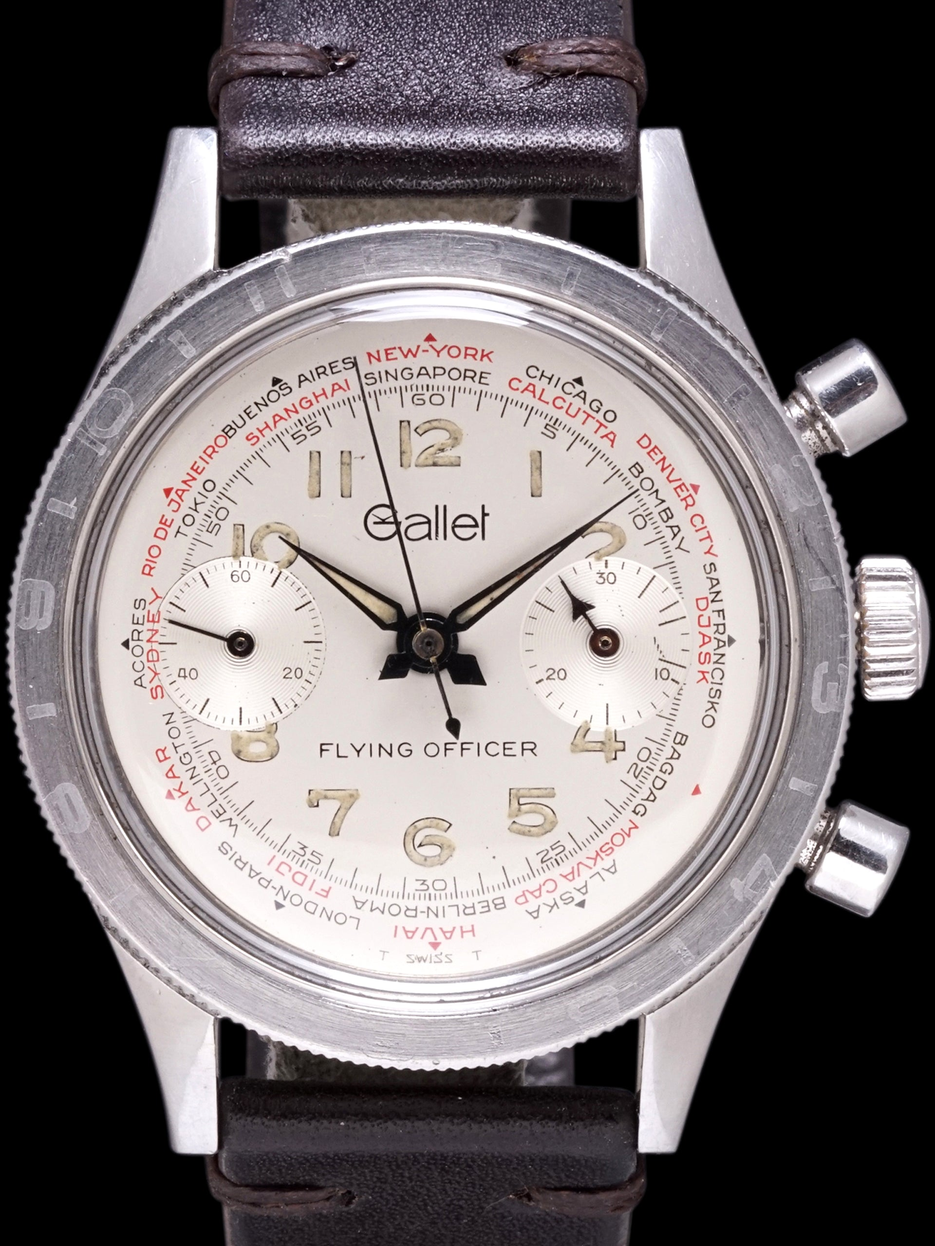 1960s Gallet Flying Officer World Time Chronograph