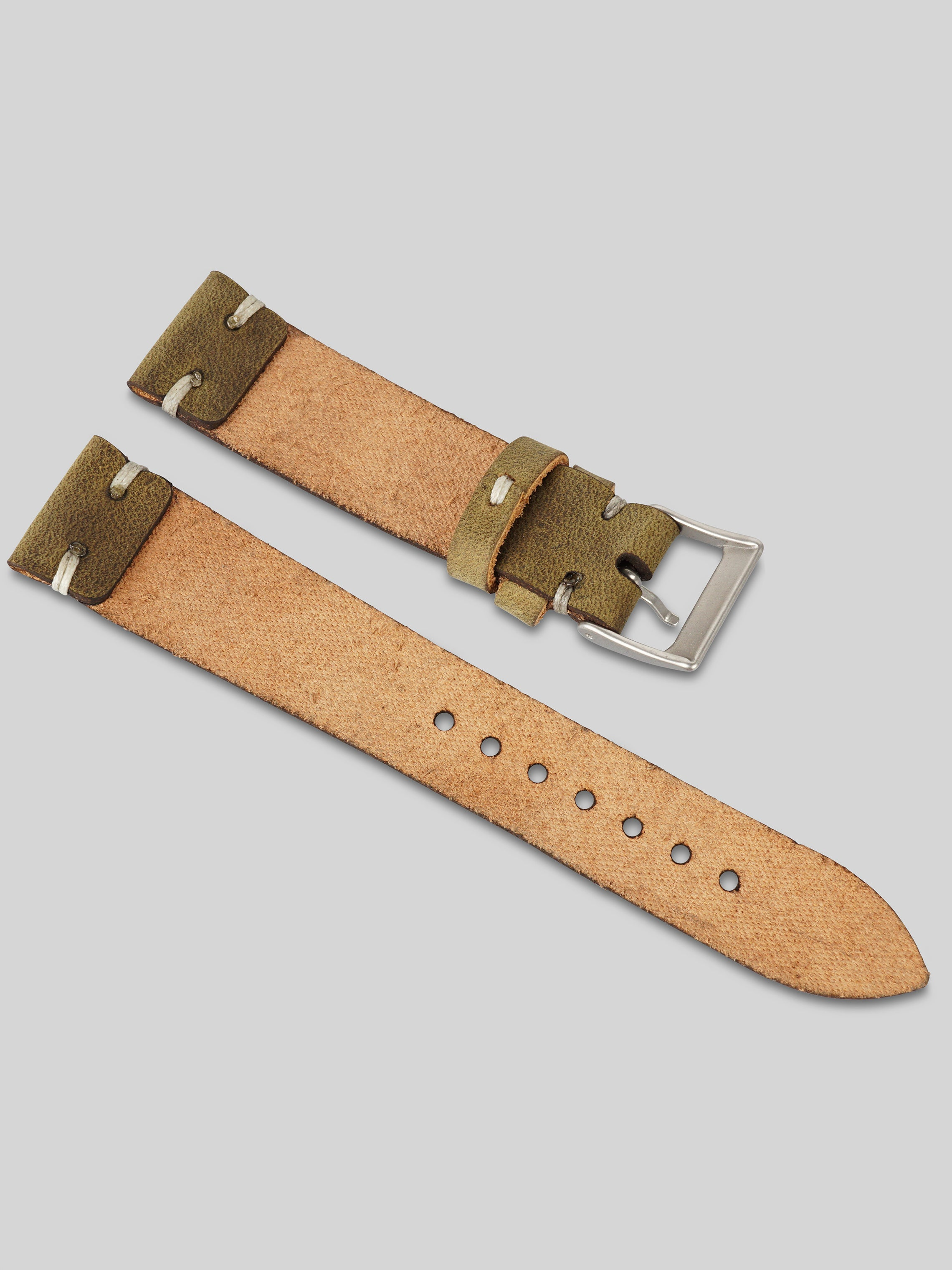 Oiled Leather Watch Strap - Olive
