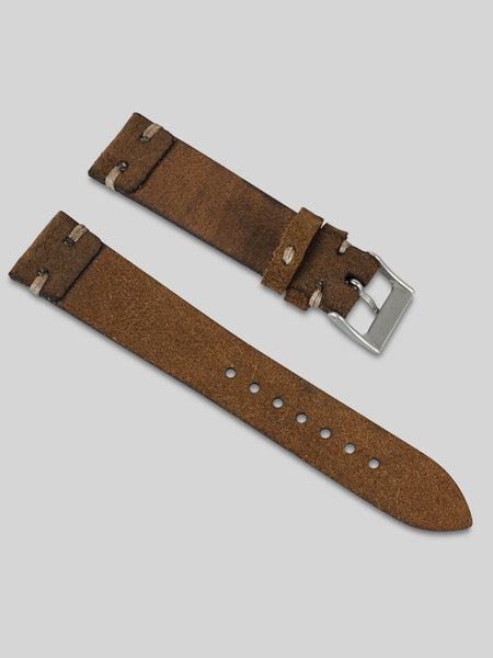Vintage Style Suede Watch Strap - Brown