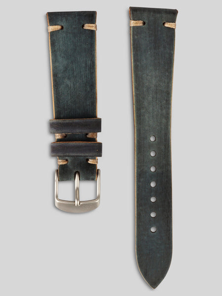 Horween Shell Cordovan Watch Strap (Black Distressed)