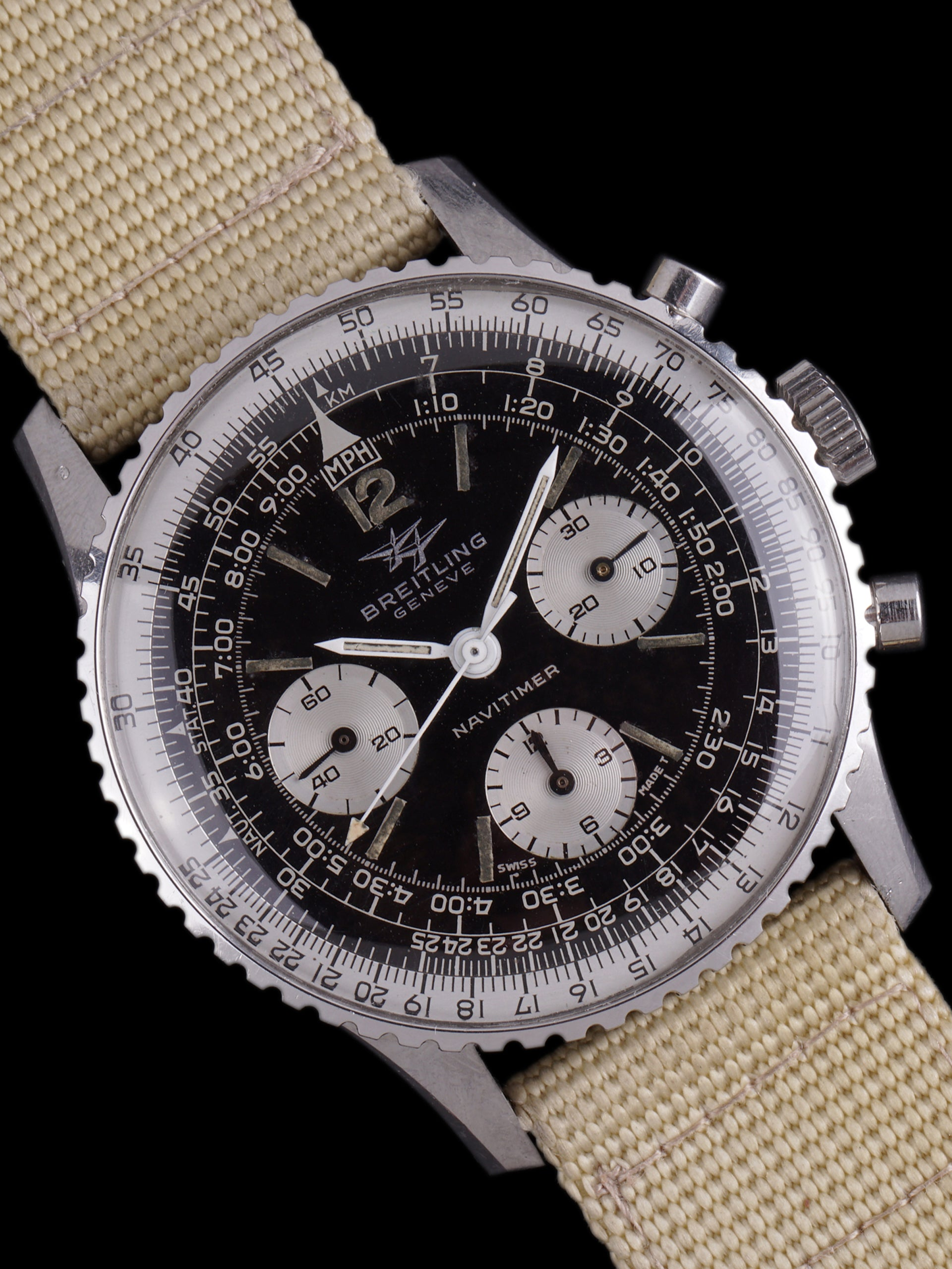 "1966 Breitling Navitimer (Ref. 806) Gilt ""Twin Jets"" Portugiese Import Stamp"