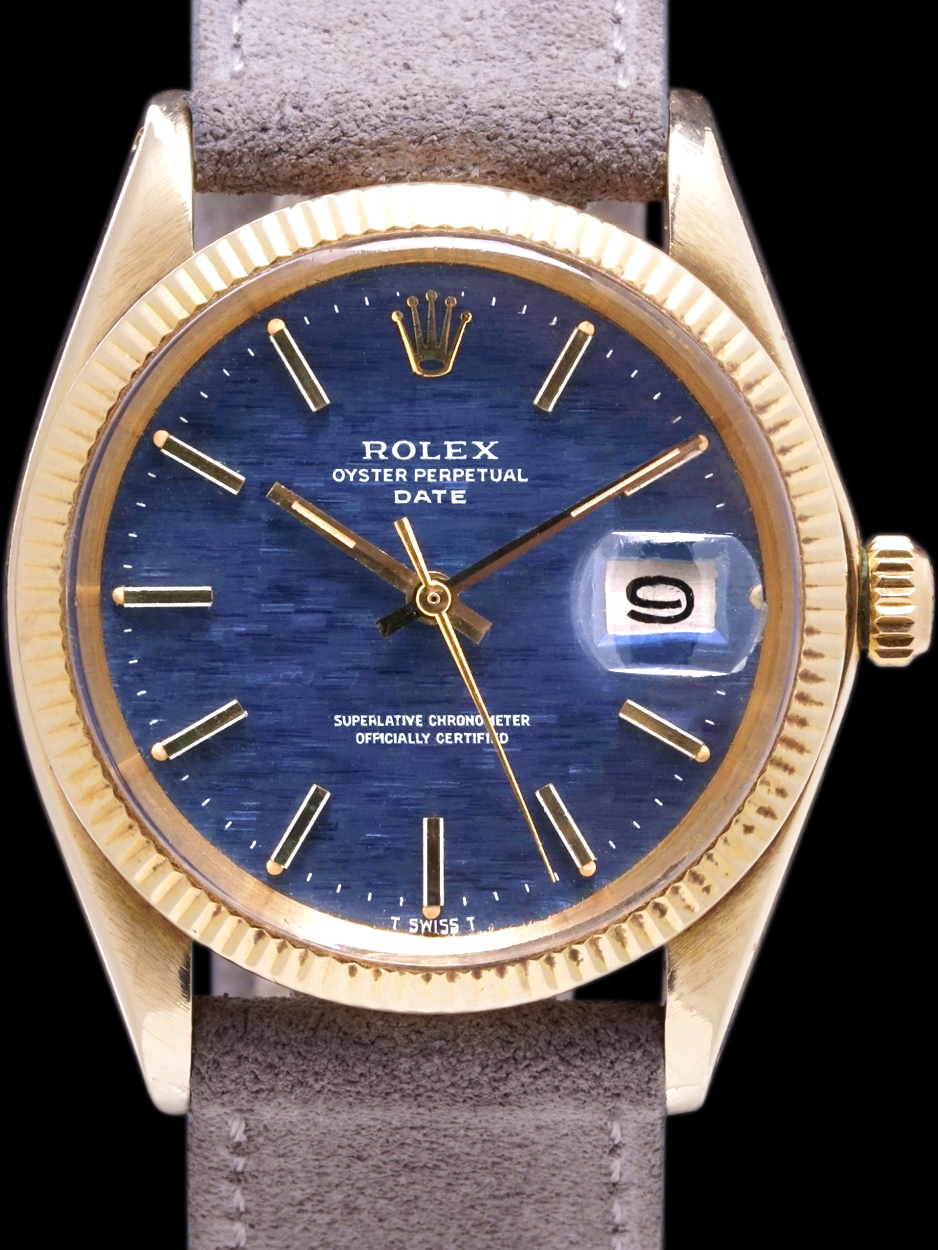 "1972 Rolex Oyster-Perpetual Date 14k YG (Ref. 1503) ""Blue Mosaic Dial"" W/ Papers"