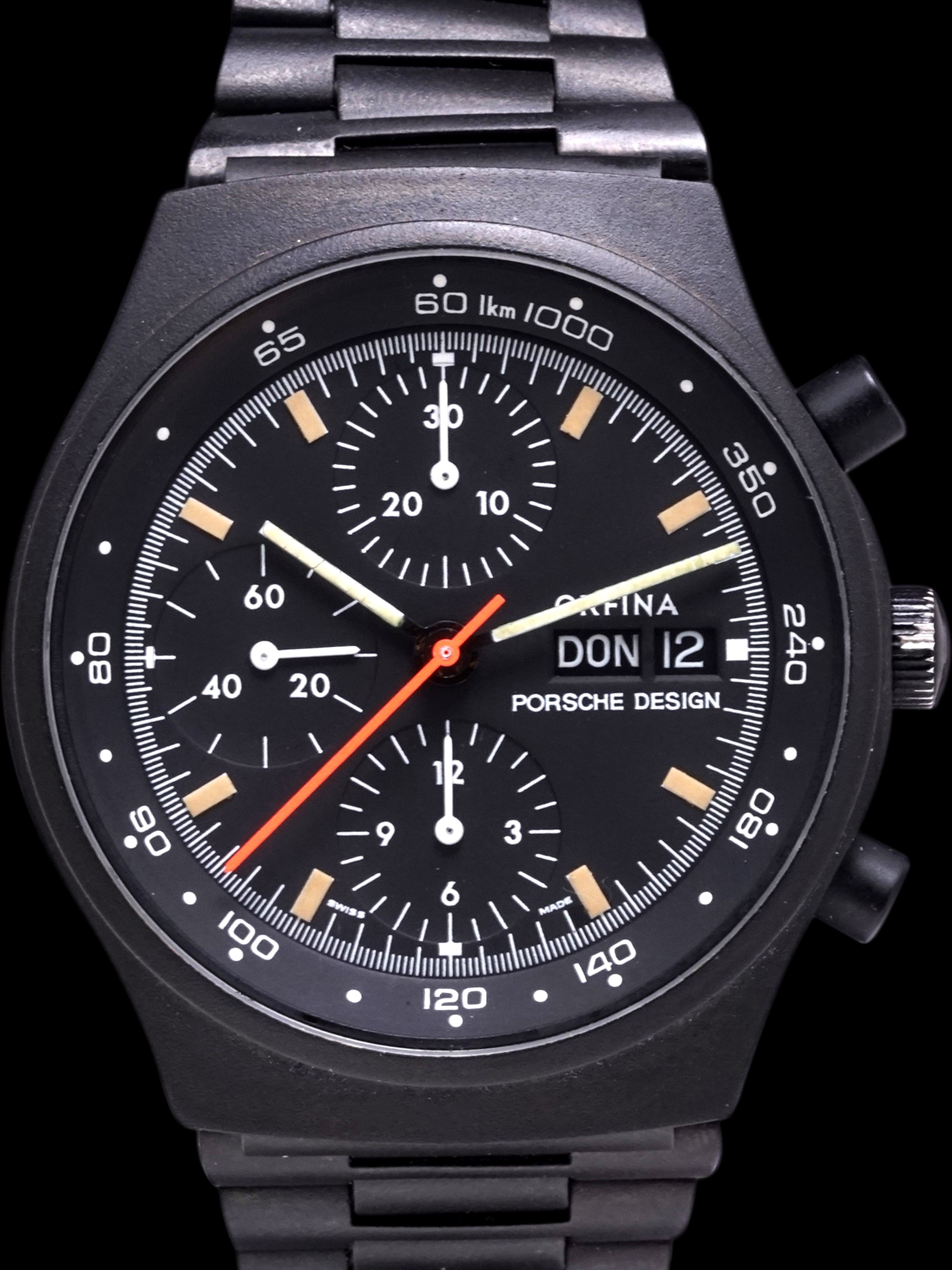 "*Mint* Orfina Porsche Design Chronograph (Ref. 7750) W/ Original PVD Finish ""Top Gun"""