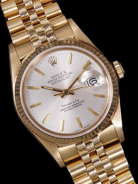 "1984 Rolex Datejust (Ref. 16018) 18k YG ""Tiffany & Co."""