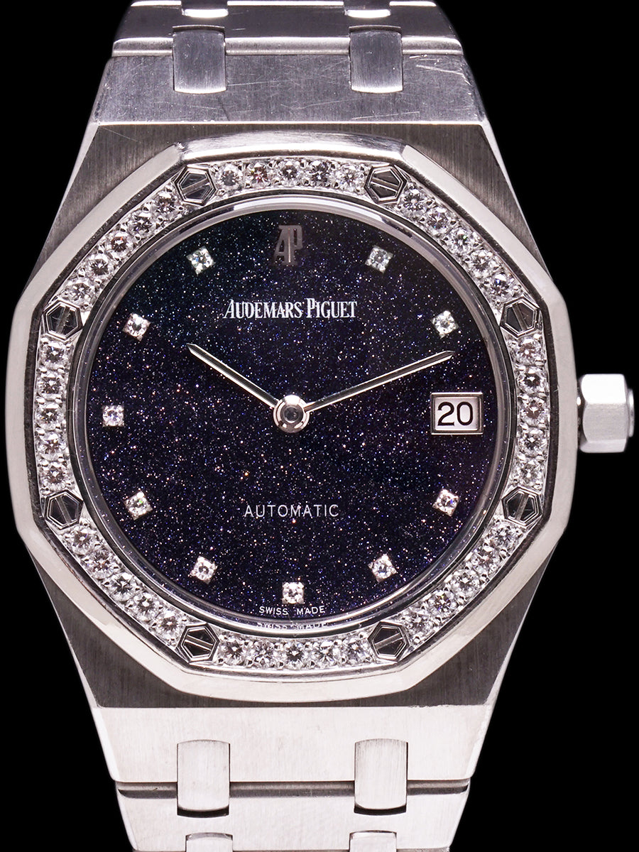 Audemars Piguet Royal Oak 18k WG (Ref. 14813BC) Black Aventurine Dial W/ Diamond Bezel + Box, Booklets