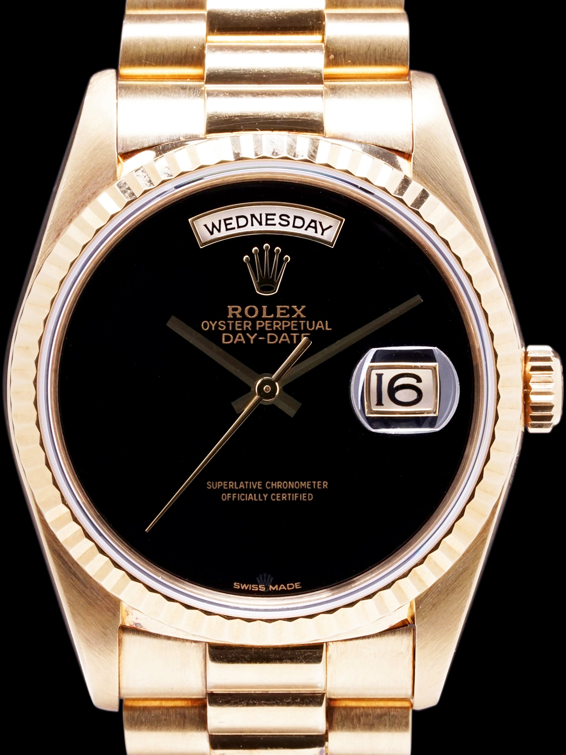 1991 Rolex Day-Date (Ref. 18238) 18k YG Onyx Dial W/ Box and Rolex Service Card