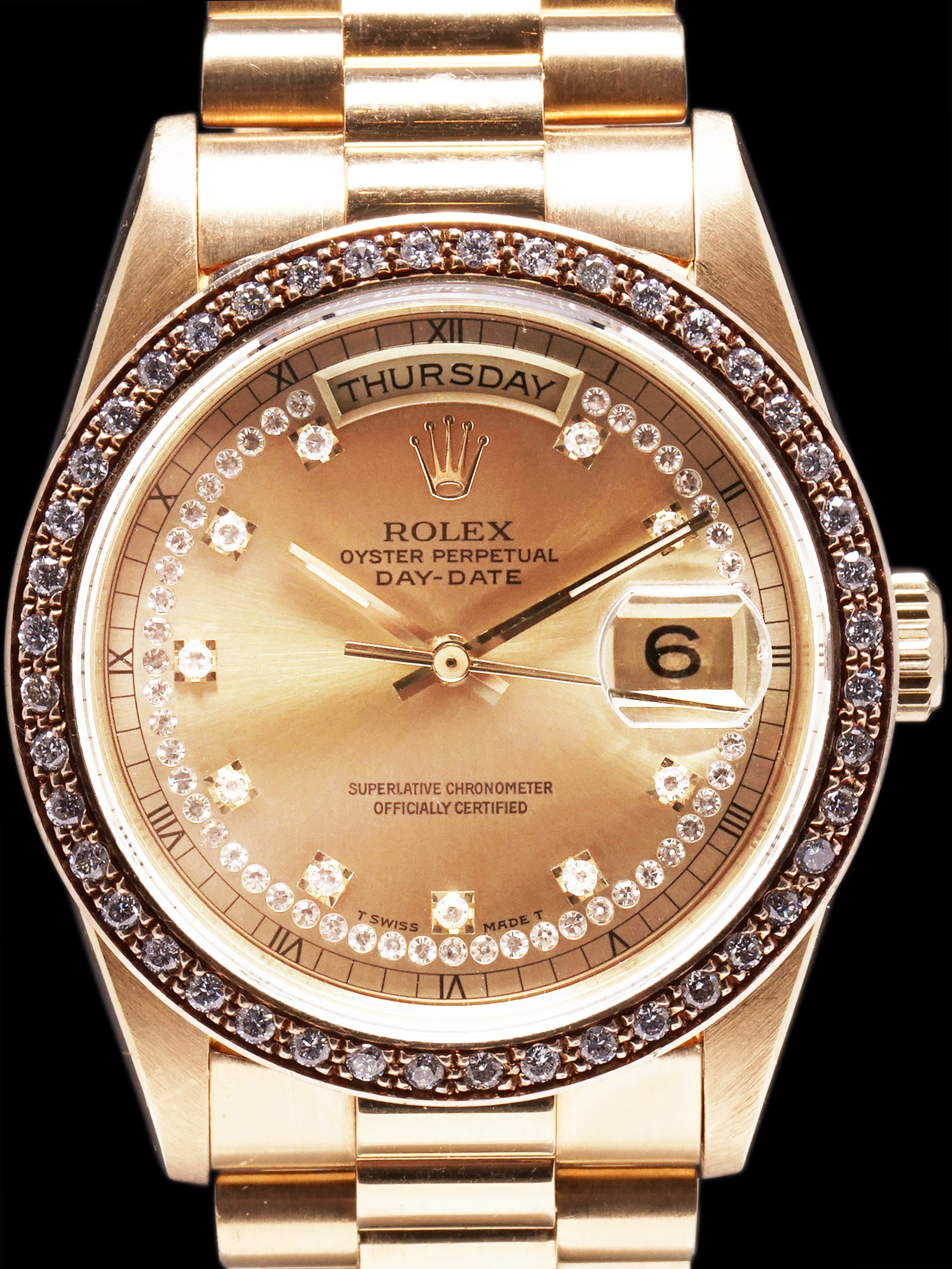 1989 Rolex Day-Date 18k YG (Ref. 18348) String Dial W/ Factory Diamond Bezel W/ Box & Papers