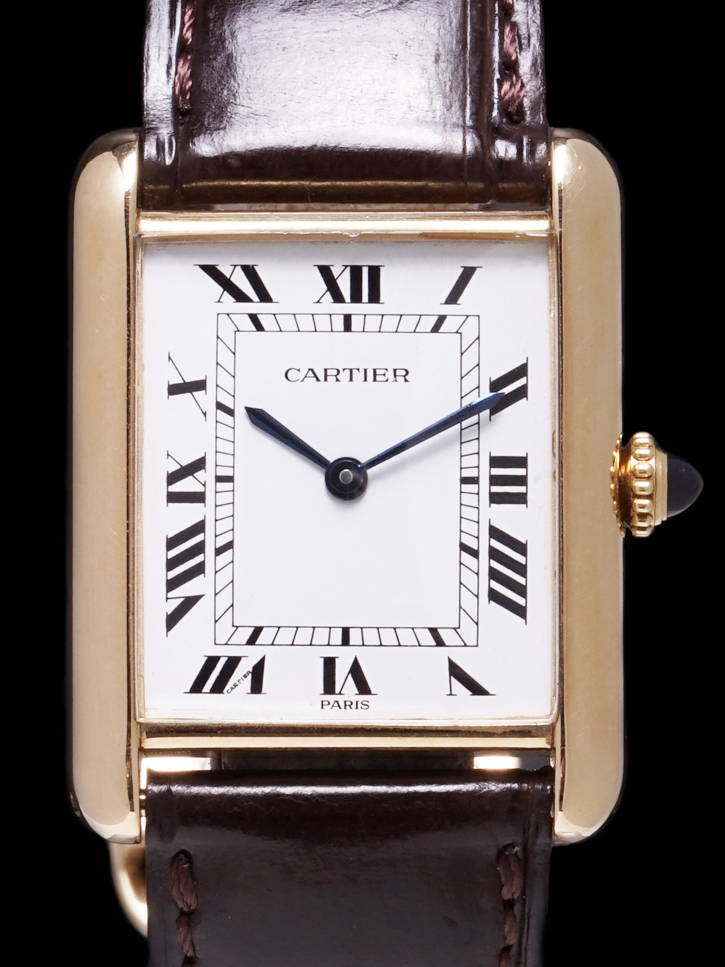 1970s Ladies Cartier Tank Paris 18k YG w/ Original 18k Deployant Clasp