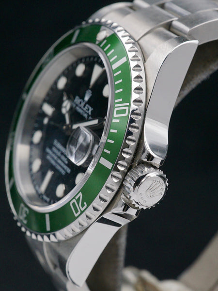 "2003 Rolex Green Submariner (Ref. 16610LV) Mk.1 ""Flat 4"" W/ Box and Papers"