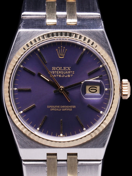 "1980 Rolex Two-Tone Oysterquartz Datejust (Ref. 17013) ""Purple Dial"" With Box, Papers, and RSC Papers"