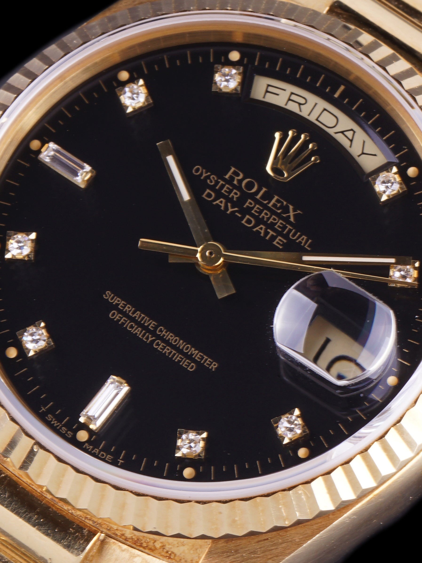 **Unpolished** 1987 Rolex Day-Date (Ref. 18038) Black Factory Diamond Dial With Box and Booklets