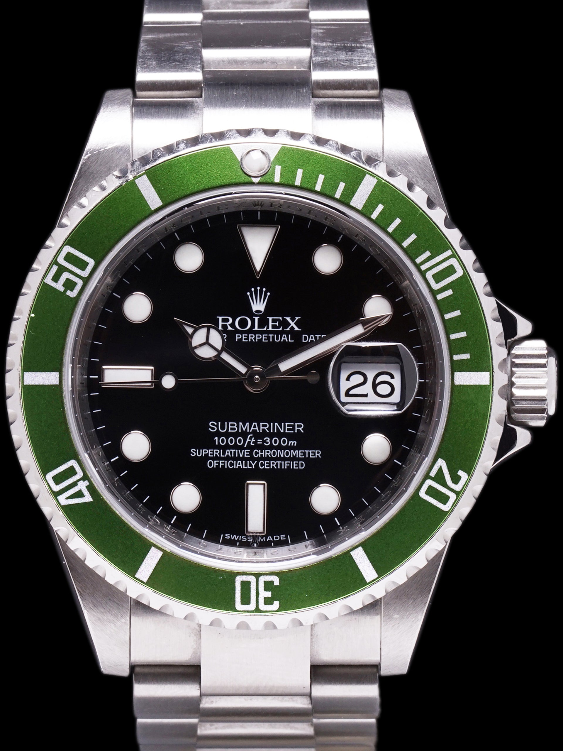 "*Unpolished* 2008 ""Kermit"" Rolex Green Submariner (Ref. 16610LV) Mk. V ""Engraved Rehaut"""