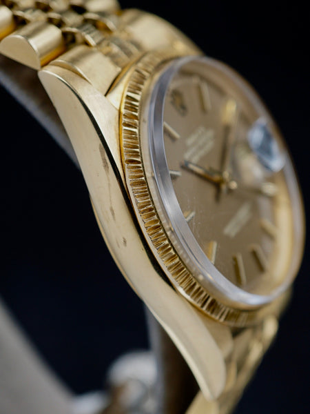 "1972 Rolex 1607 Datejust 18k YG Bark ""Taupe Dial"""