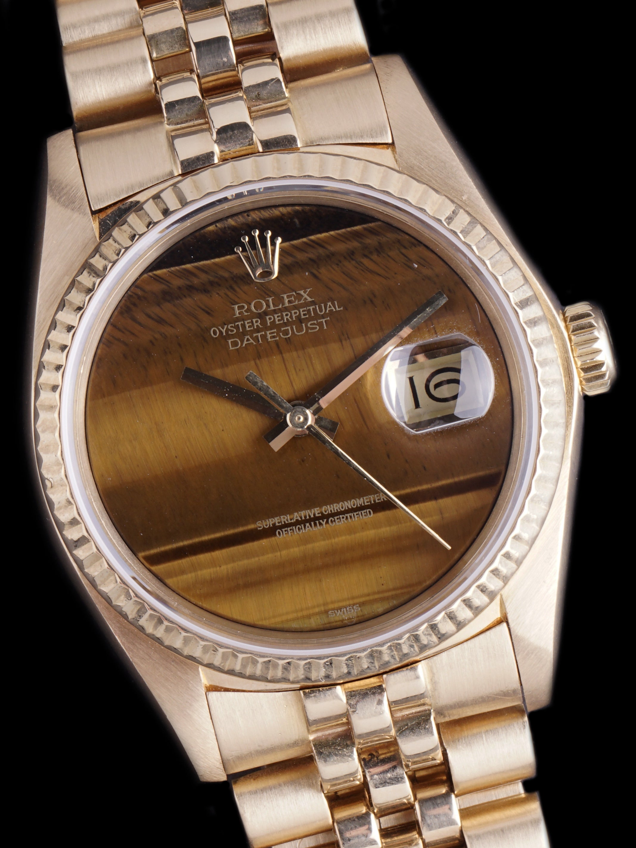 "1979 Rolex Datejust (Ref. 16018) 18k YG ""Tiger Eye"""