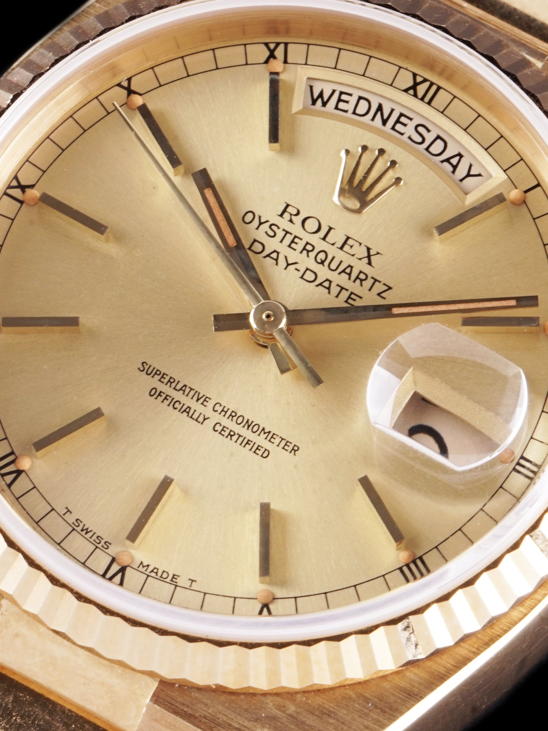 *Unpolished* 1984 Rolex Oysterquartz Day-Date (Ref. 19018) W/ Guarantee Paper