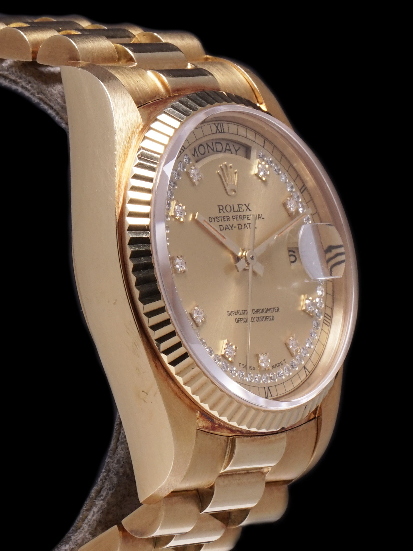 "*Unpolished* 1978 Rolex Day-Date (Ref. 18038) 18k YG ""Diamond String Dial"""