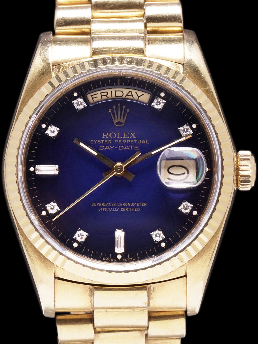 "1986 Rolex Day-Date (Ref. 18038) ""Factory Blue Vignette Diamond Dial"""