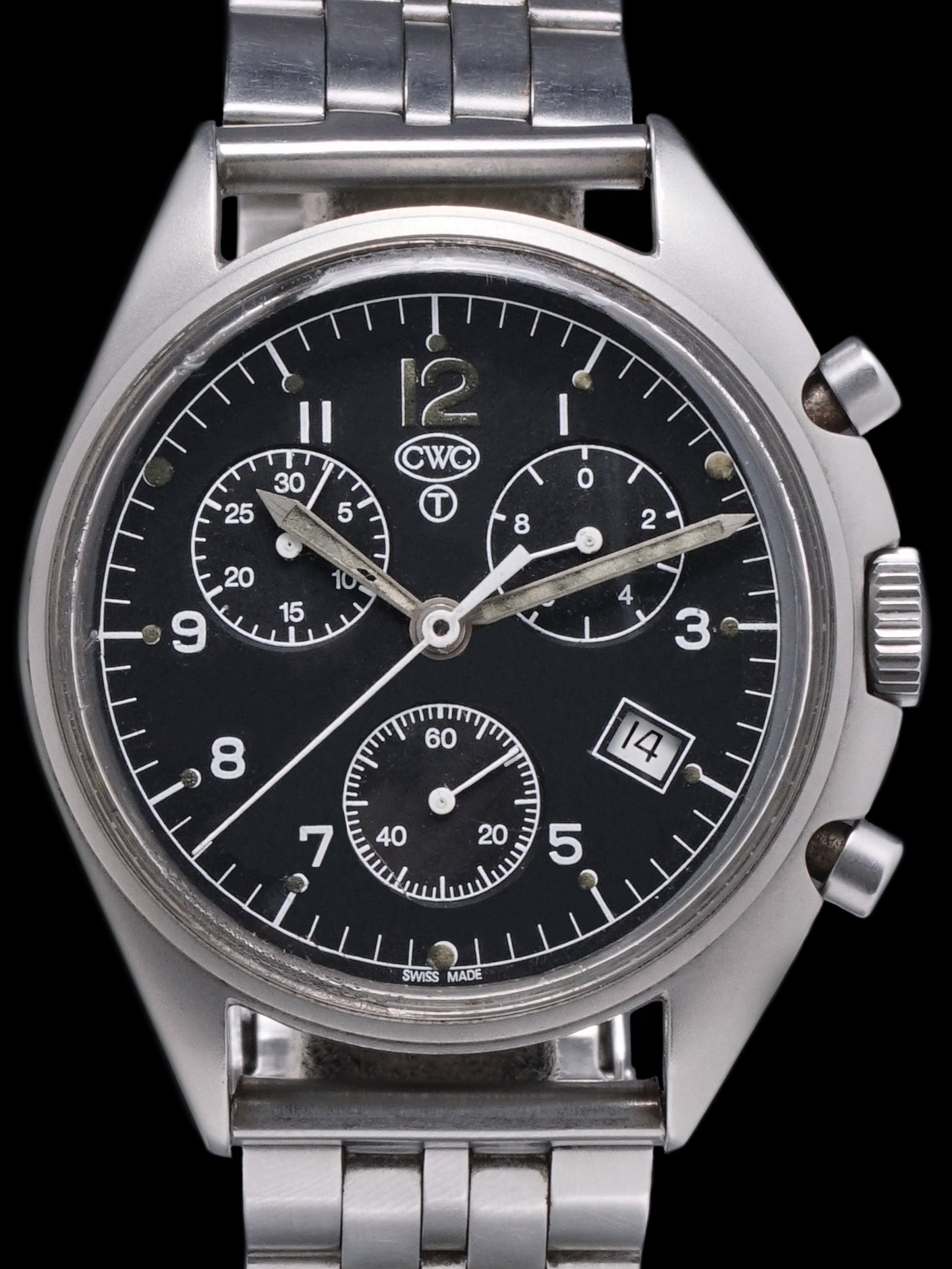 "1990s CWC Quartz Military Pilots Chronograph ""Belgian Air Force"""