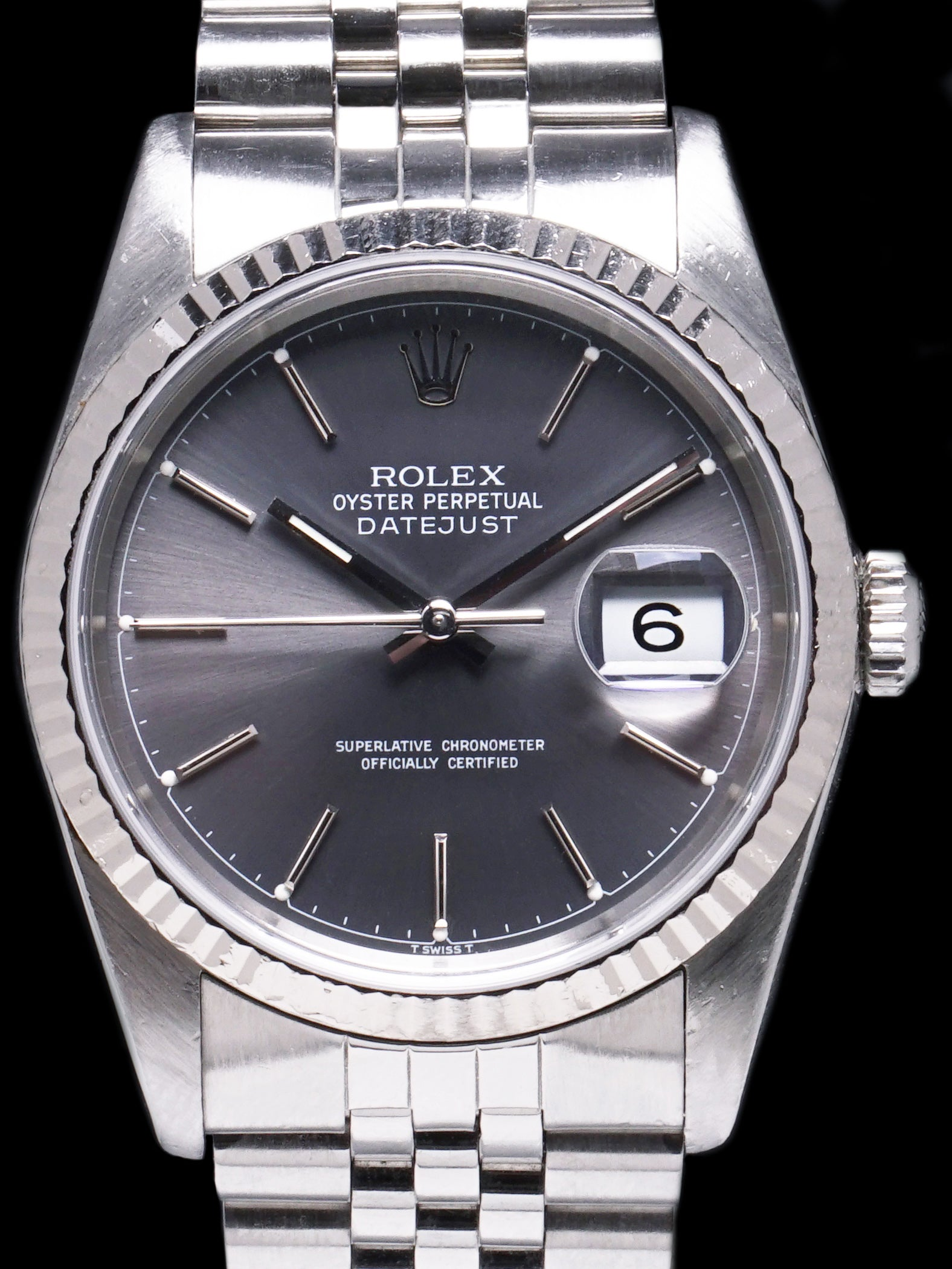 1988 Rolex Datejust (Ref. 16234) Grey Chapter Ring Dial W/ Box + Papers