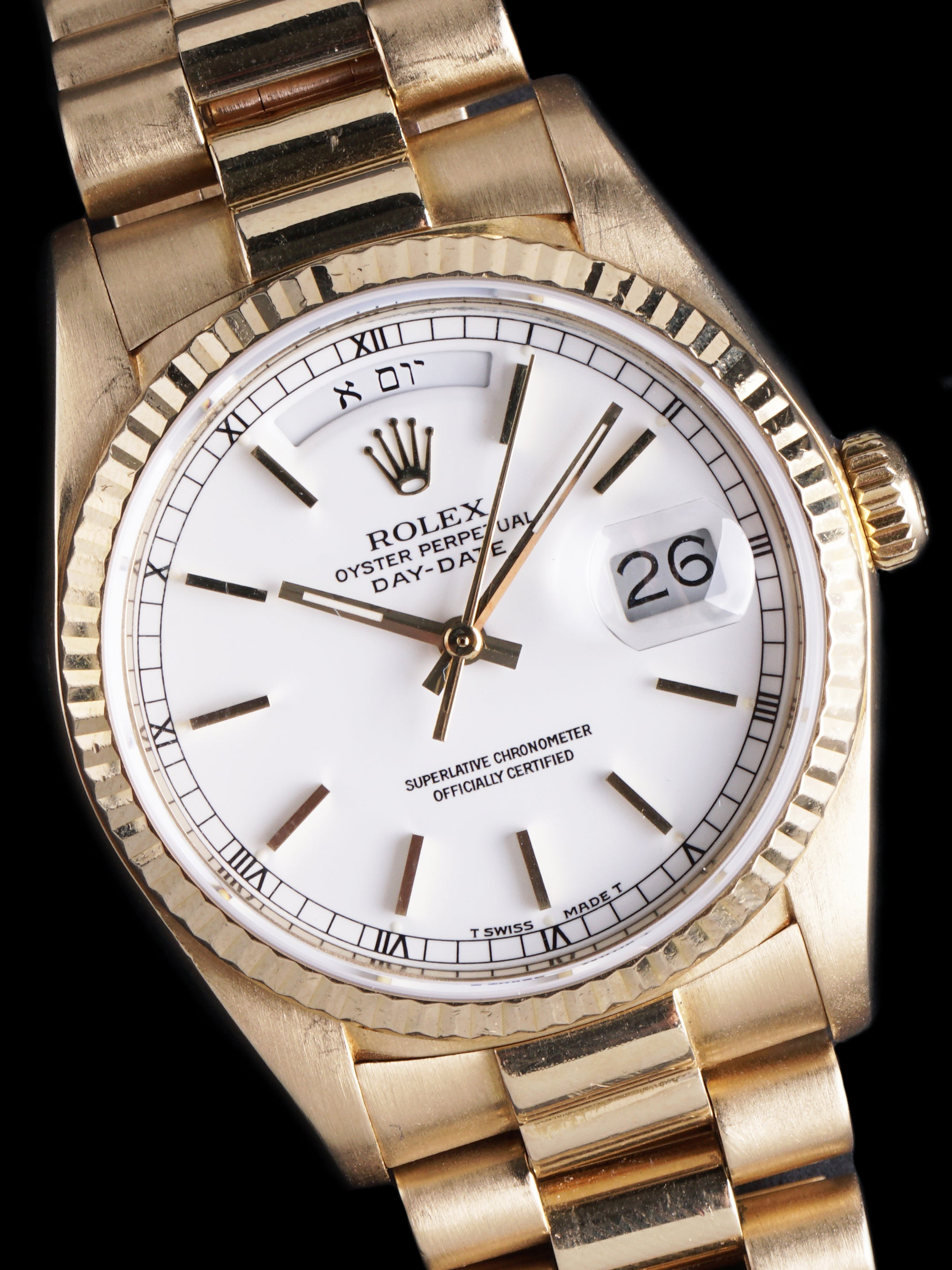 "*Rare* 1986 Rolex Day-Date (Ref. 18038) White Lacquer ""Stella Dial"" W/ Hebrew Day Wheel"
