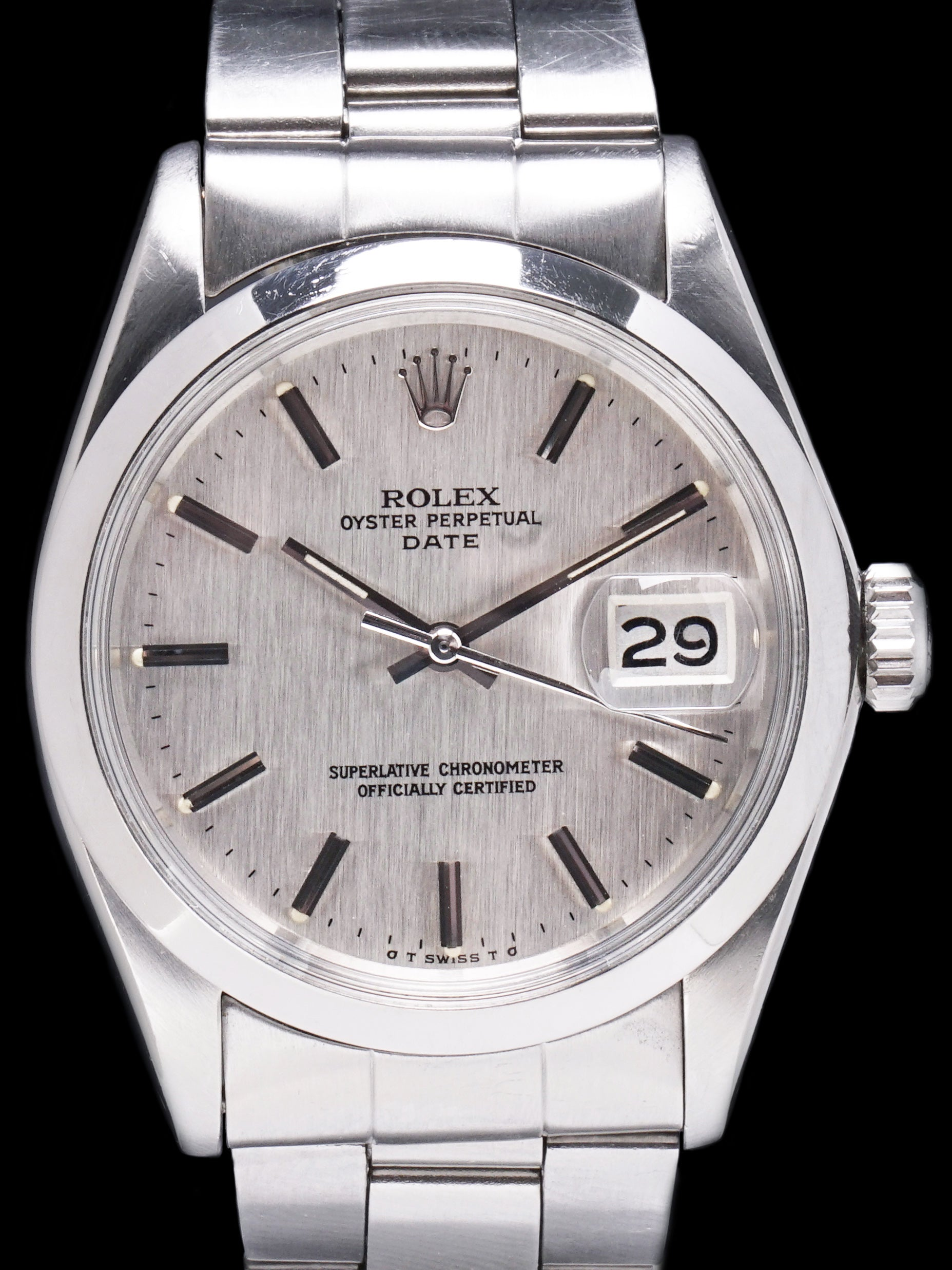 "1974 Rolex Oyster-Perpetual Date (Ref. 1500) Silver Sigma ""Linen"" Dial"