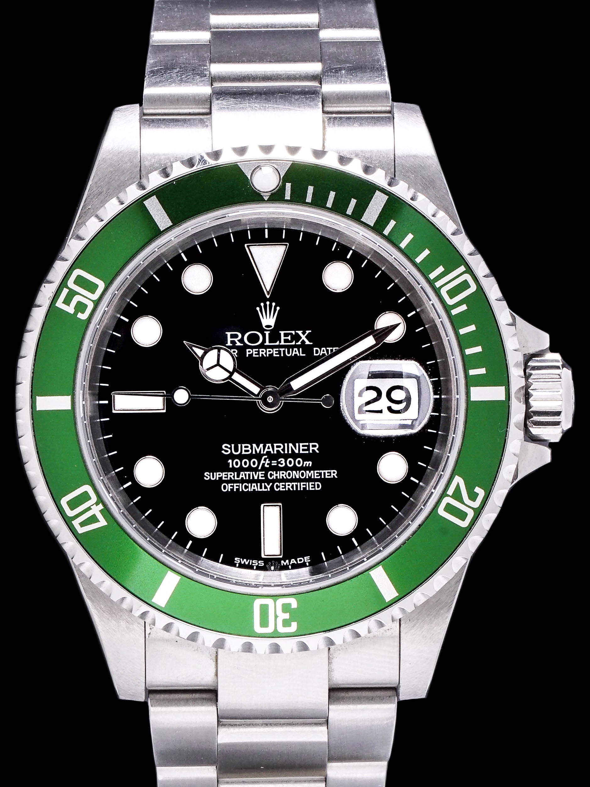 "2003 Rolex Green Submariner (Ref. 16610LV) Mk.1 ""Flat 4"" W/ Box, Papers"