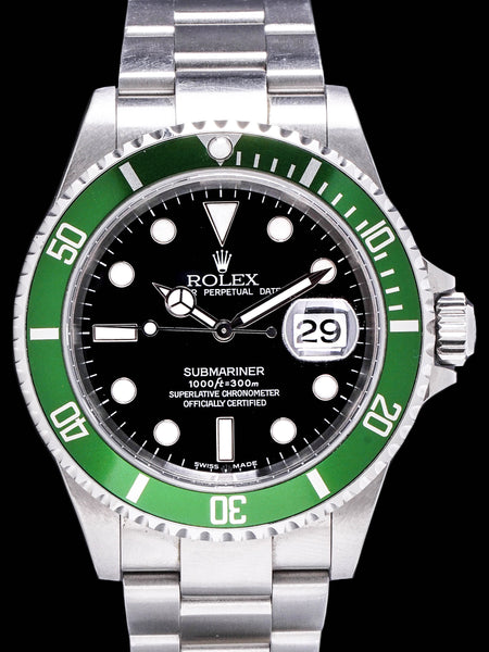 "2003 Rolex Green Submariner (Ref. 16610LV) Mk.1 ""Flat 4"" W/ Box, Papers, and Baselworld Press Kit"