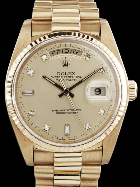 "1984 Rolex Day-Date (Ref. 18038) ""Factory Diamond Dial"" W/ Rolex Service Card"