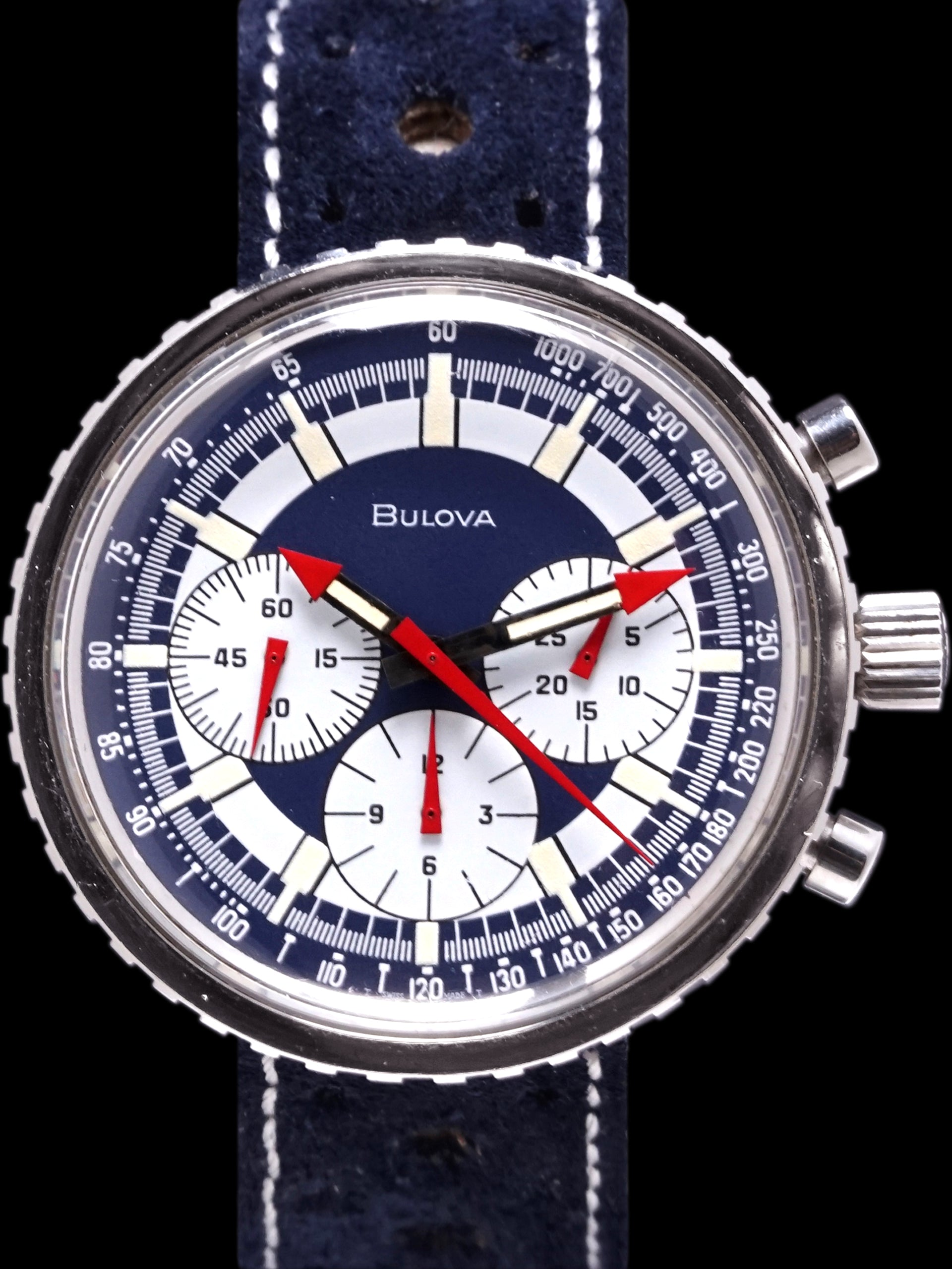 "*Unpolished* 1970 Bulova Chronograph C ""Stars & Stripes"""