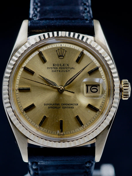 1962 Rolex Datejust 14k YG (Ref. 1601) Champagne 'Swiss Only' Dial