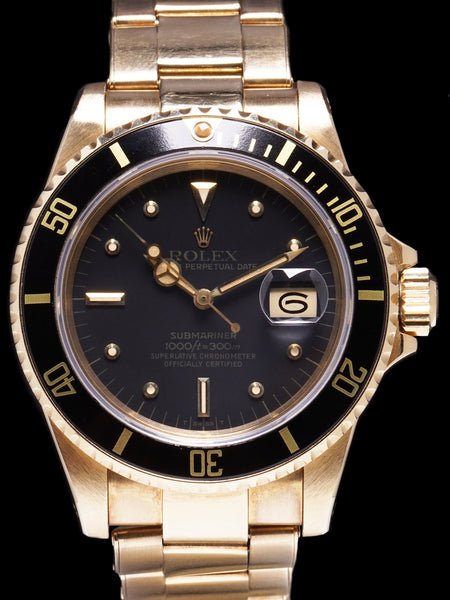 Unpolished 1981 Rolex Submariner (Ref. 16808) 18k YG