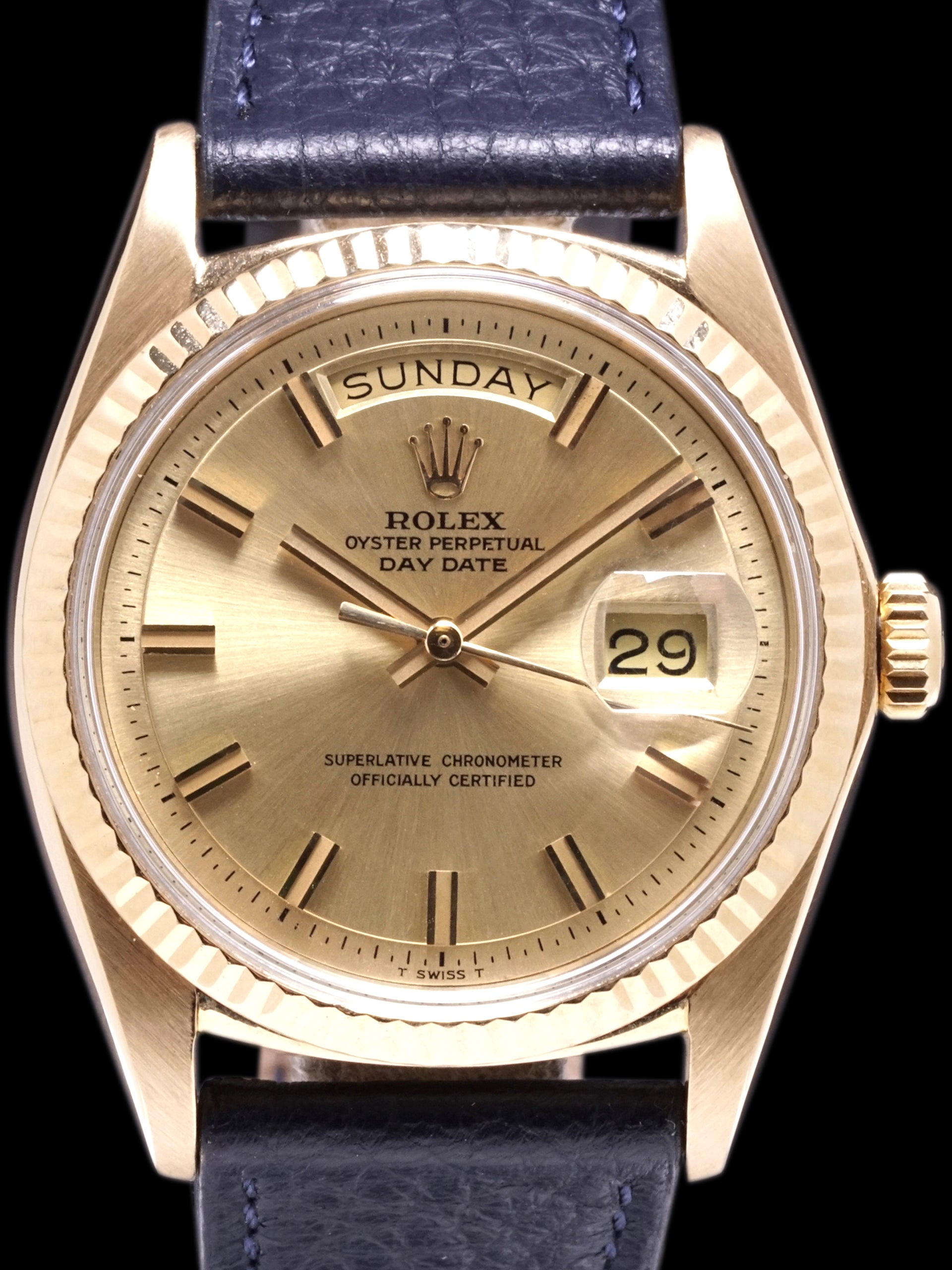 "1971 Rolex Day-Date (Ref. 1803) 18K YG ""Non-Luminous Wide Boy Dial"""